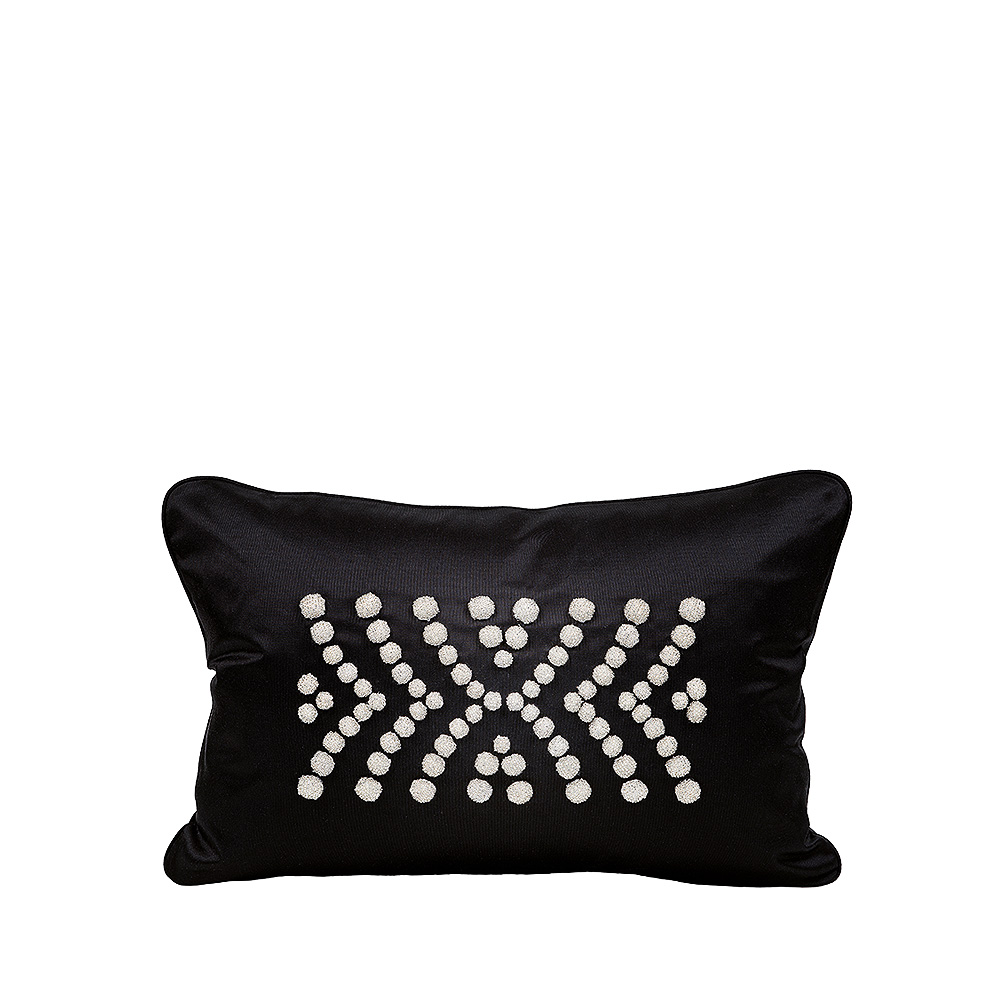 Demi Coutard beaded cushion | Ivory silk, black glass beads, small size | Interior Design Lalique