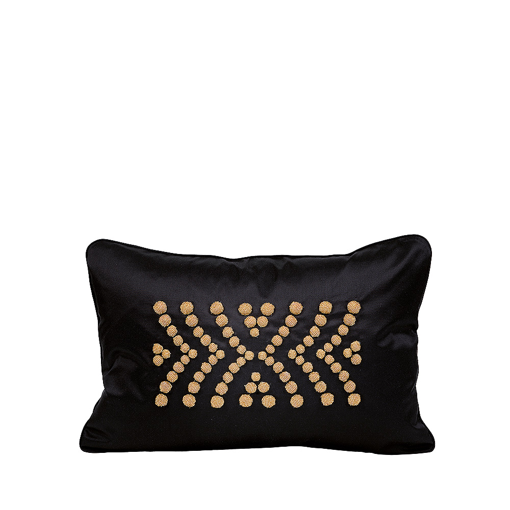 Coussin perlé Demi Coutard | Soie ivoire, perlé noir, petit modèle | Interior Design Lalique