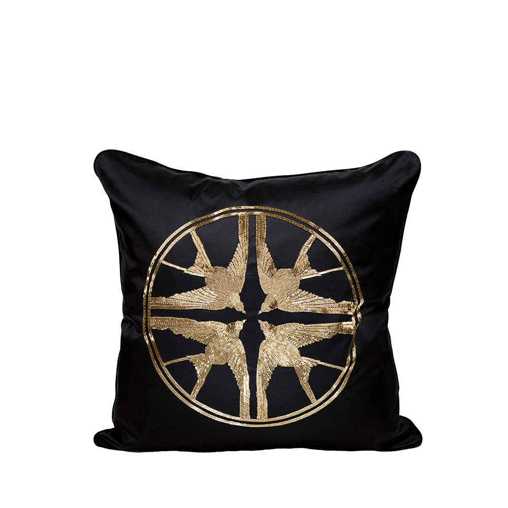 Hirondelles beaded cushion | Ivory silk, black glass beads, medium size | Interior Design Lalique