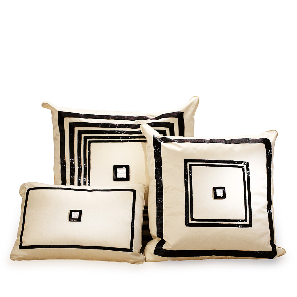Masque de Femme beaded cushion | Ivory silk, black glass beads | Interior Design Lalique