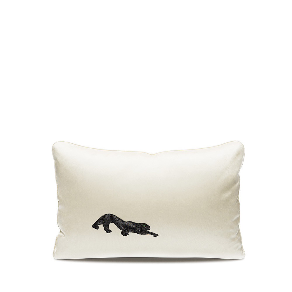 Panthère beaded cushion | Black or white silk, silver glass beads, small size | Interior Design Lalique
