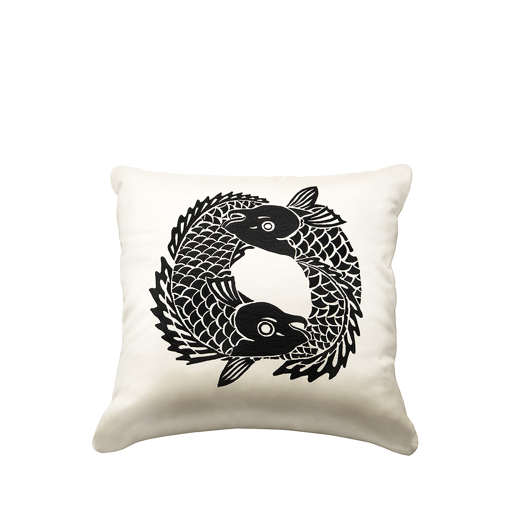 Koi Circle embroidered cushion | Ivory silk, black embroidery, square | Interior Design Lalique