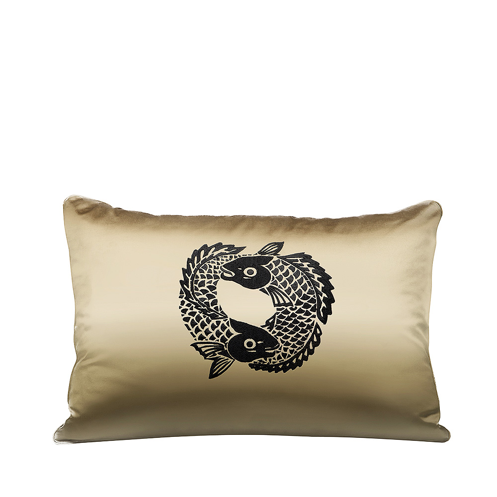 Koi Circle embroidered cushion | Ivory silk, black embroidery, rectangular | Interior Design Lalique