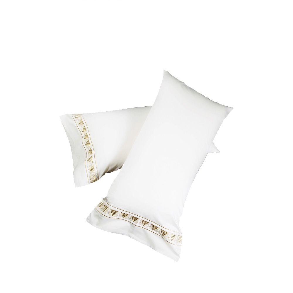 2 Raisins embroidered pillow cases | Ivory cotton, gold embroidery | Interior Design Lalique