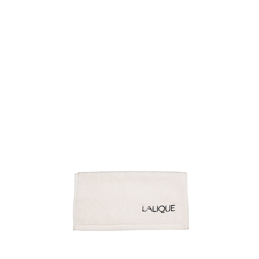 Lalique embroidered square towel | Ivory cotton, black embroidery | Interior Design Lalique