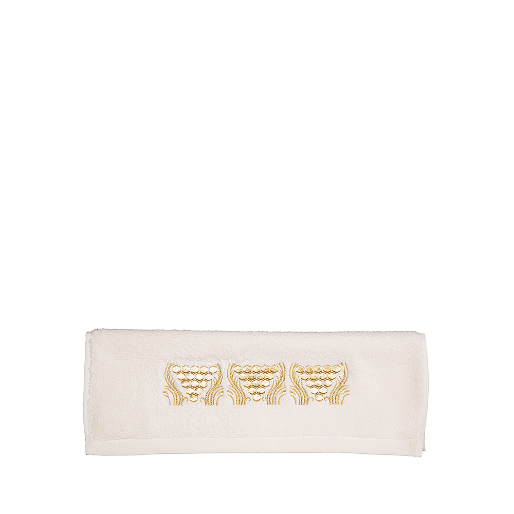 Raisins embroidered guest towel | Ivory cotton, gilded embroidery | Interior Design Lalique