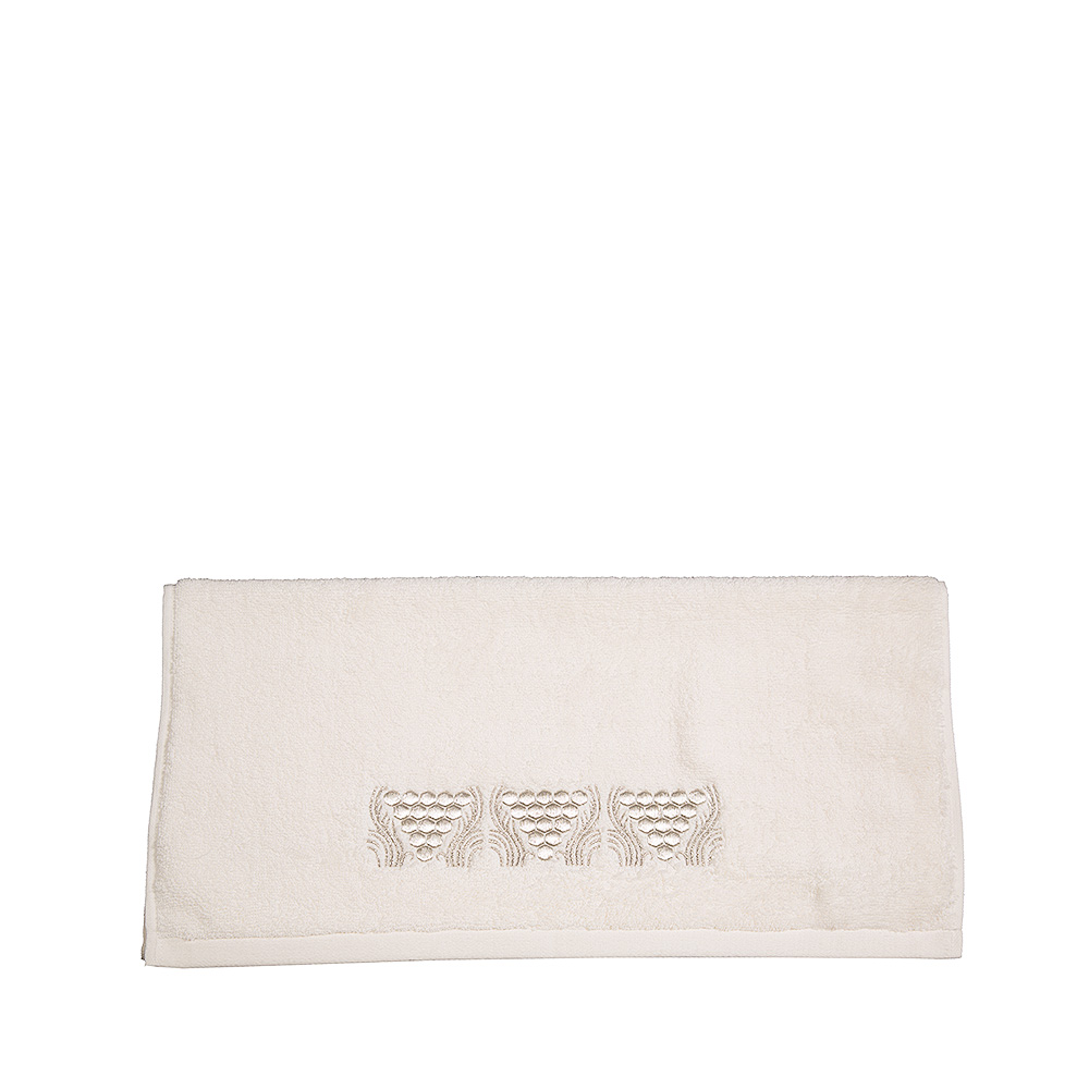 Raisins embroidered hands towel | Ivory cotton, silver embroidery | Interior Design Lalique
