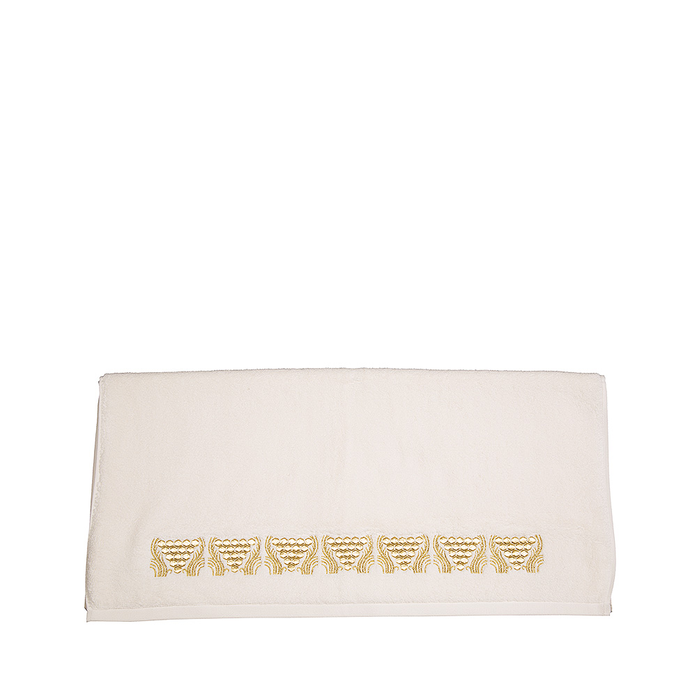 Raisins embroidered bath towel | Ivory cotton, embroidery | Interior Design Lalique