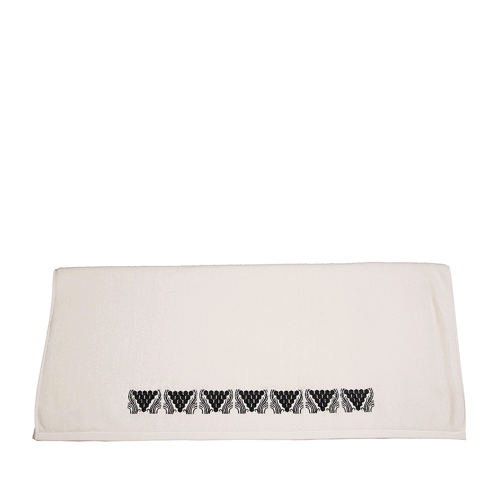 Raisins embroidered bath sheet | Ivory cotton, black embroidery | Interior Design Lalique