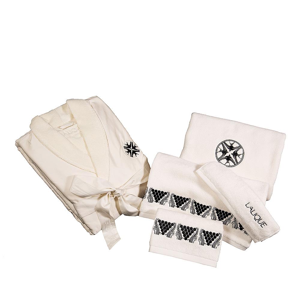 Hirondelles embroidered bathrobe   Ivory cotton, black embroidery, S size   Interior Design Lalique