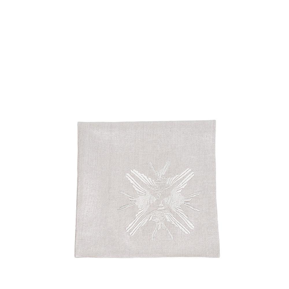 """""""4 Hirondelles"""" embroidered napkin   Metallic linen, silver embroidery, square   Interior Design Lalique"""