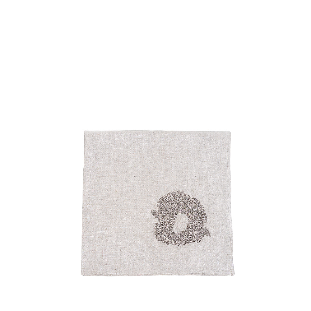 Koi Circle embroidered napkin | Metallic linen, pewter embroidery, square | Interior Design Lalique