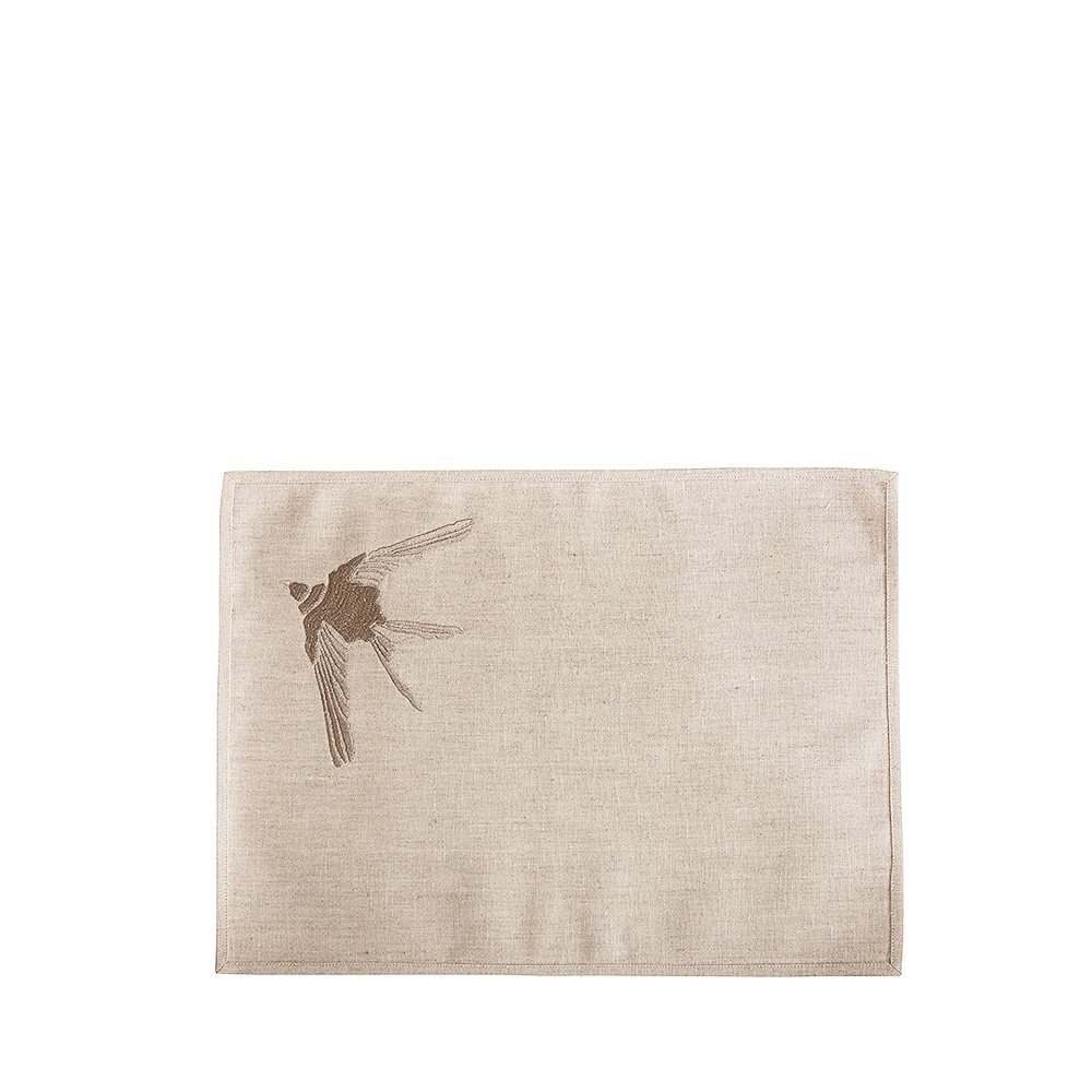 Hirondelles embroidered placemat | Metallic linen, pewter embroidery, rectangular | Interior Design Lalique