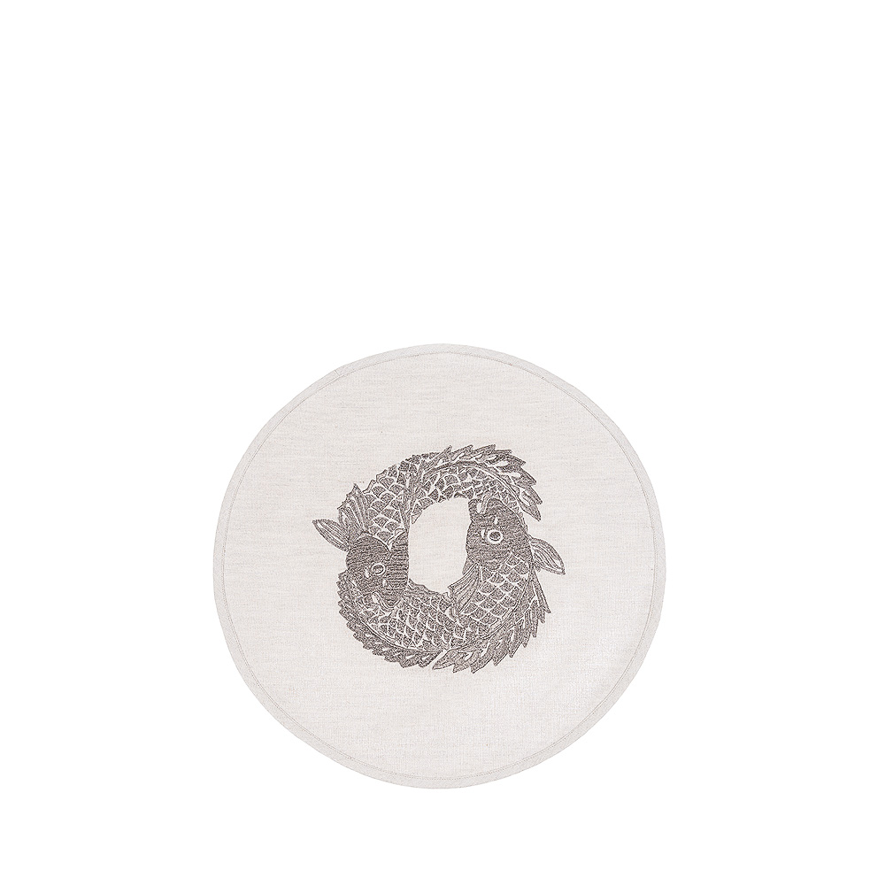 Koi Circle embroidered placemat | Metallic linen, pewter embroidery, circular | Interior Design Lalique