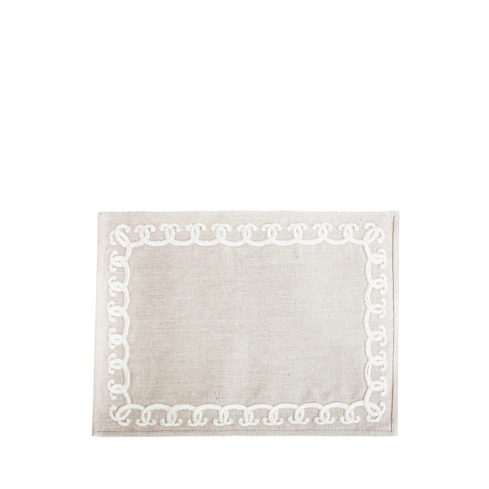 Scallop embroidered placemat | Metallic linen, silver embroidery, rectangular | Interior Design Lalique