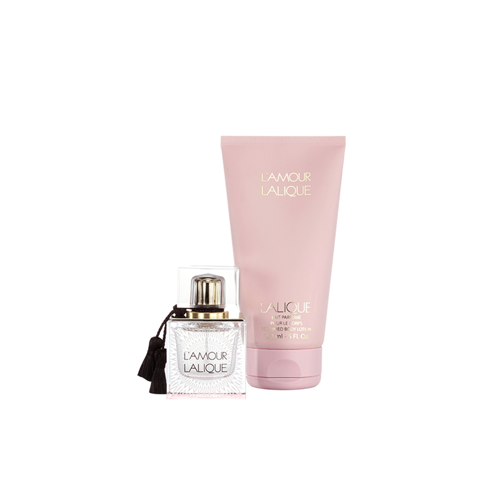 L'AMOUR Gift Set | 50 ml (1.7 Fl. Oz.) Natural Spray Eau de Parfum and 150 ml (5 Fl. Oz.) Perfumed Body Lotion | Lalique Parfums
