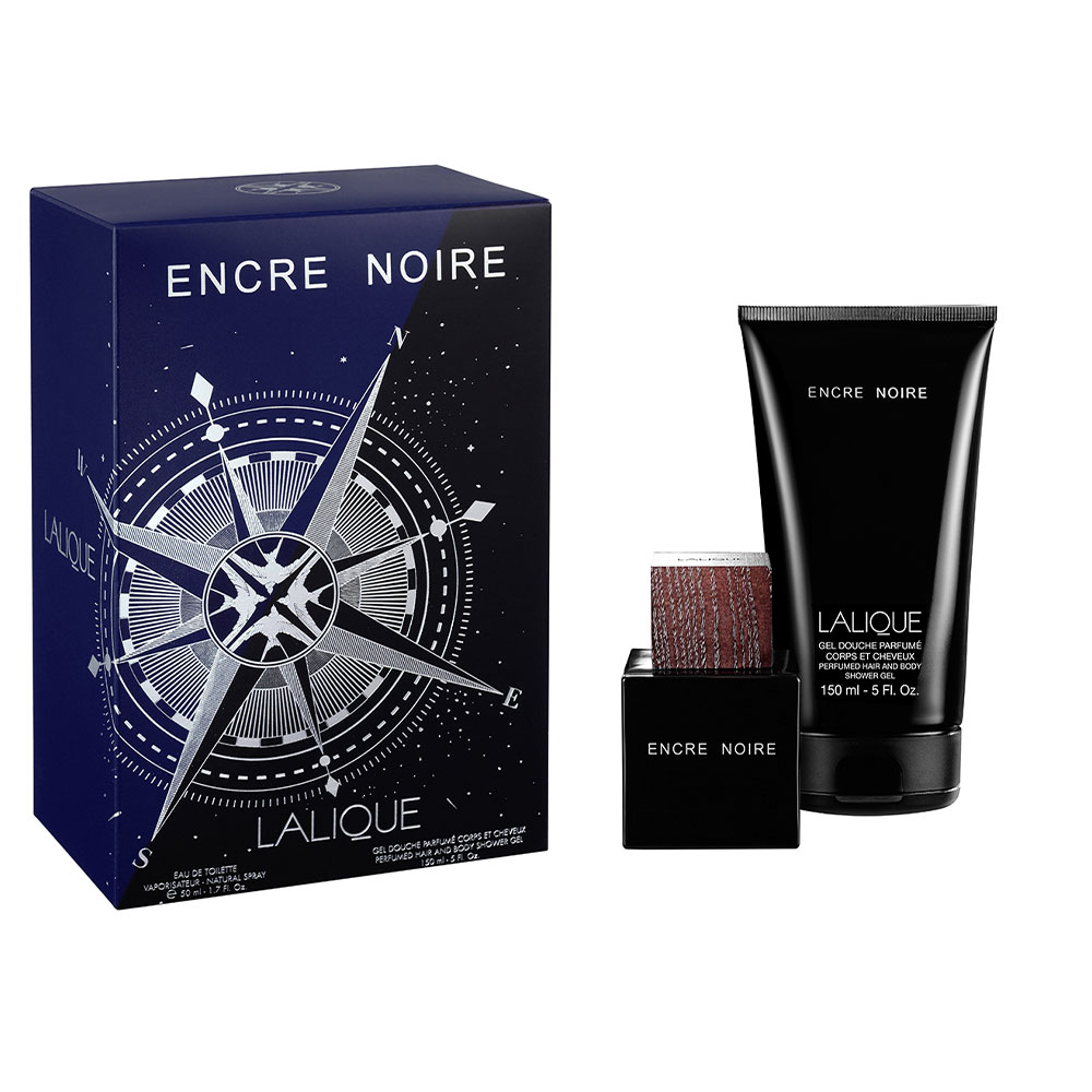 ENCRE NOIRE Gift Set | 50 ml (1.7 Fl. Oz.) Natural Spray Eau de Toilette and 150 ml (5 Fl. Oz.) Perfumed Hair and Body Shower Gel | Lalique Parfums