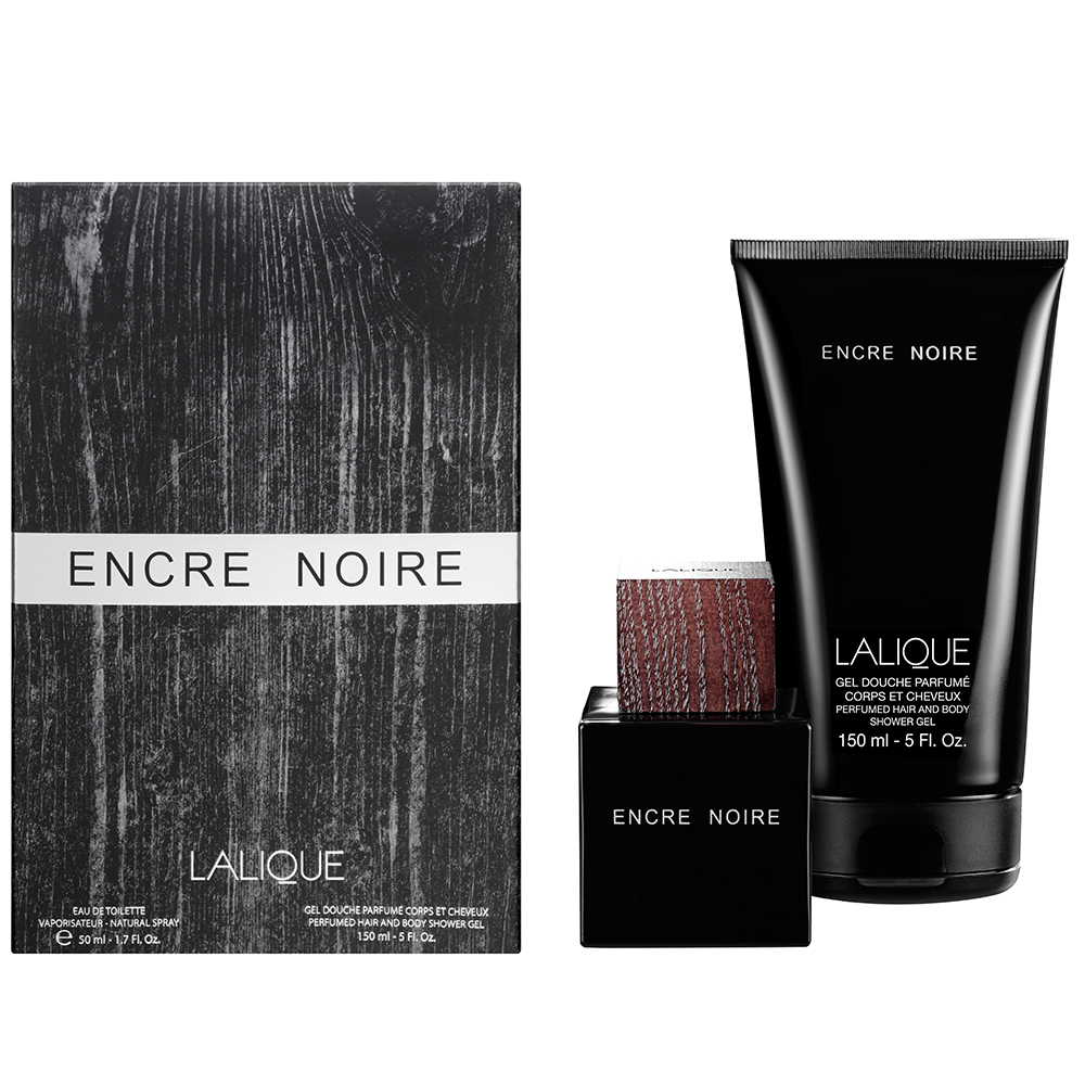 ENCRE NOIRE Gift Set | 50 ml (1.7 Fl. Oz.) Eau de Toilette Natural Spray and 150 ml (5 Fl. Oz.) Perfumed Hair and Body Shower Gel | Lalique Parfums