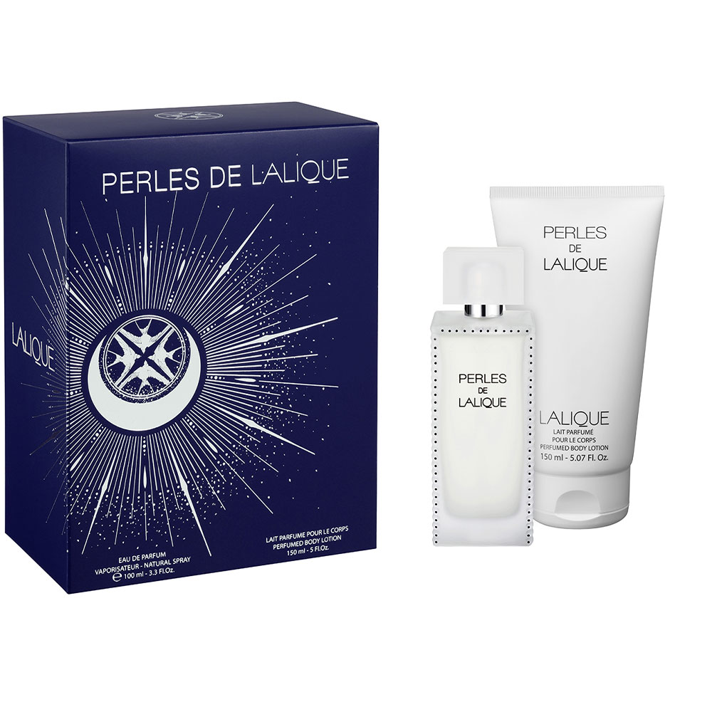 PERLES DE LALIQUE Gift Set | 100 ml (3.3 Fl. Oz.) Natural Spray Eau de Parfum and 150 ml (5 Fl. Oz.) Perfumed Body Lotion | Lalique Parfums