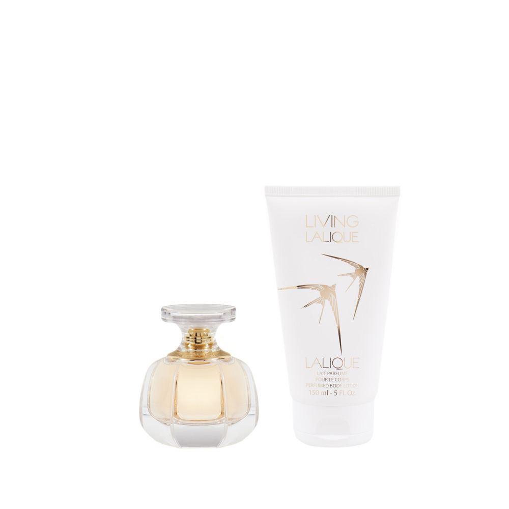 LIVING LALIQUE Gift Set | 50 ml (1.7 Fl. Oz.) Natural Spray Eau de Parfum and 150 ml (5 Fl. Oz.) Perfumed Body Lotion | Lalique Parfums