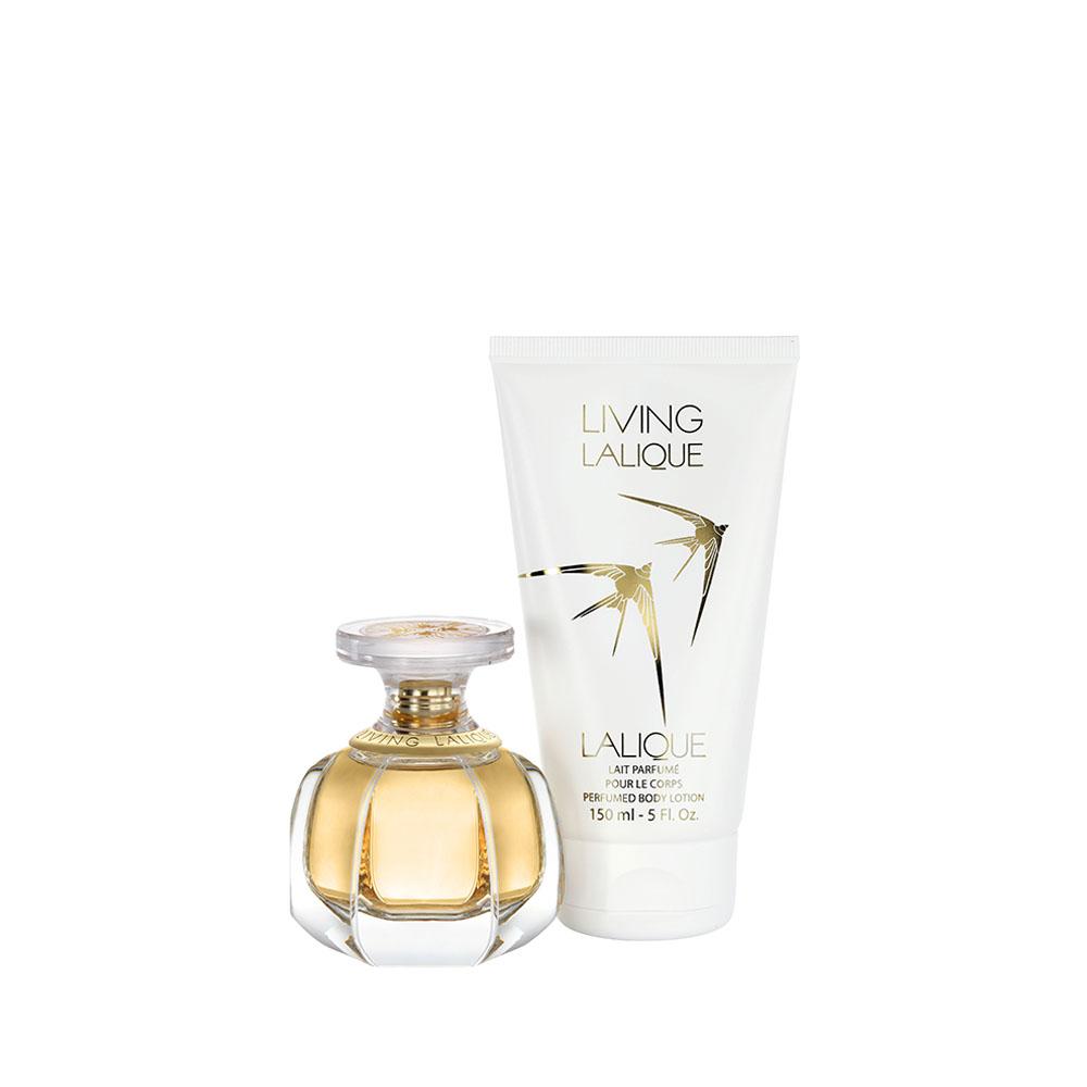 LIVING LALIQUE Gift Set | 50 ml (1.7 Fl. Oz.) Natural Spray Eau de Parfum and 150 ml (5 Fl. Oz.) Perfumed Body Lotion | Lalique Parfums