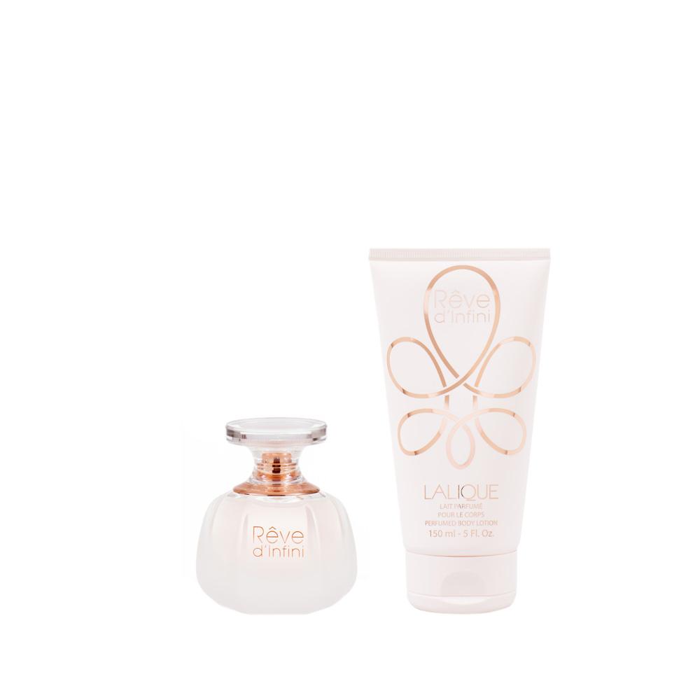 RÊVE D'INFINI Gift Set   50 ml (1.7 Fl. Oz.) Natural Spray Eau de Parfum and 150 ml (5 Fl. Oz.) Perfumed Body Lotion   Lalique Parfums