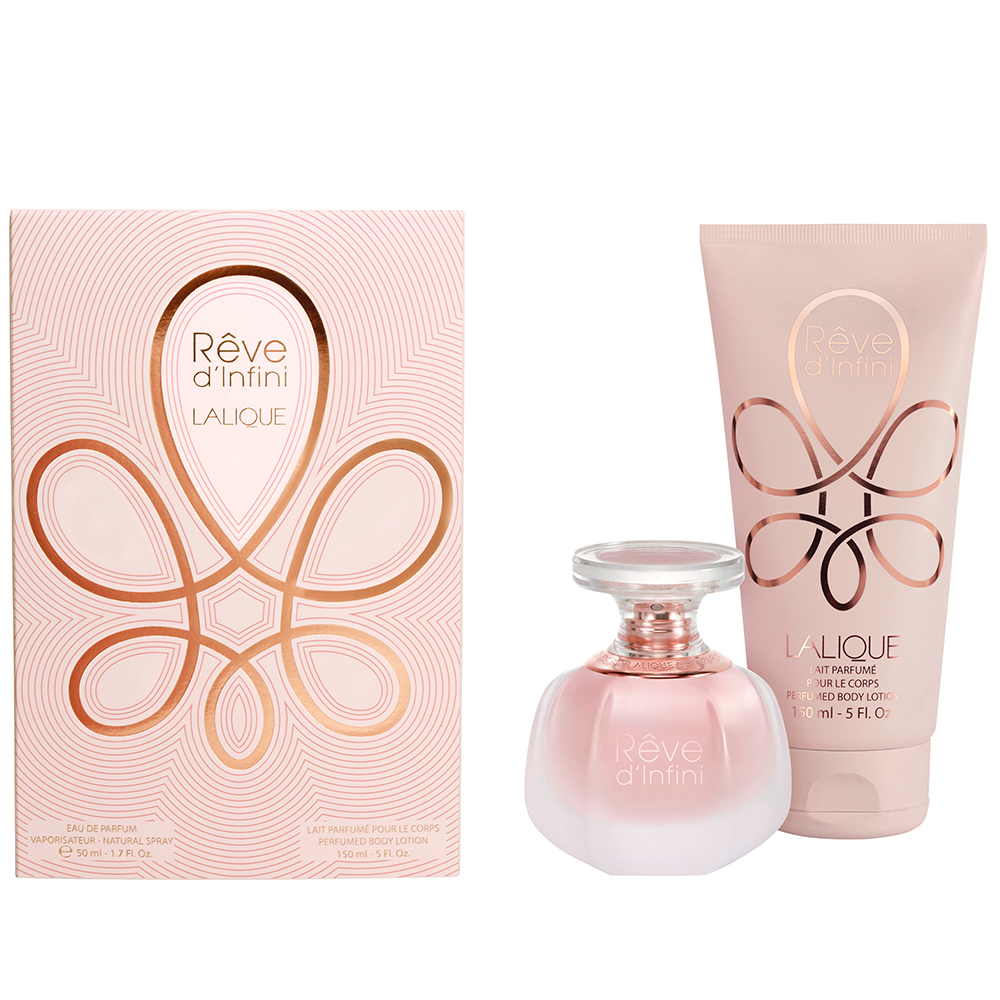 RÊVE D'INFINI Gift Set | 50 ml (1.7 Fl. Oz.) Natural Spray Eau de Parfum and 150 ml (5 Fl. Oz.) Perfumed Body Lotion | Lalique Parfums
