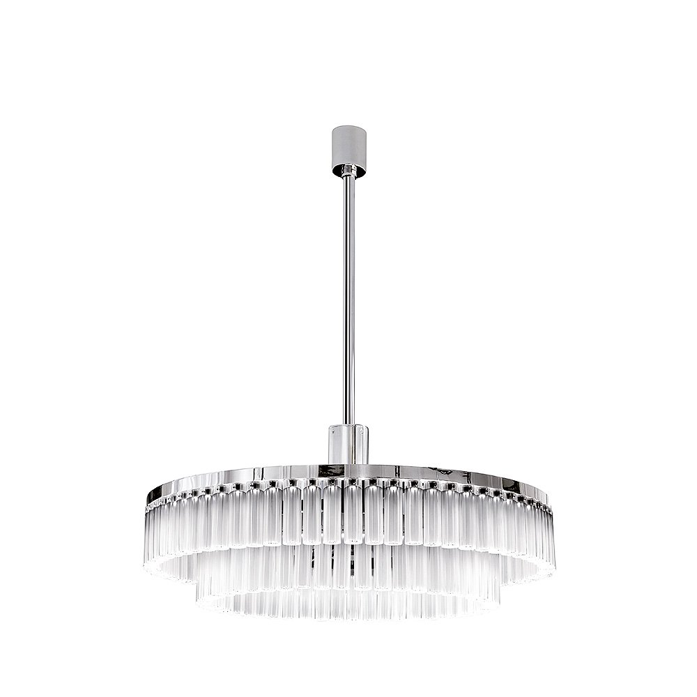 Orgue chandelier | Clear crystal, chrome finish, large size (119 crystals) | Interior Design Lalique
