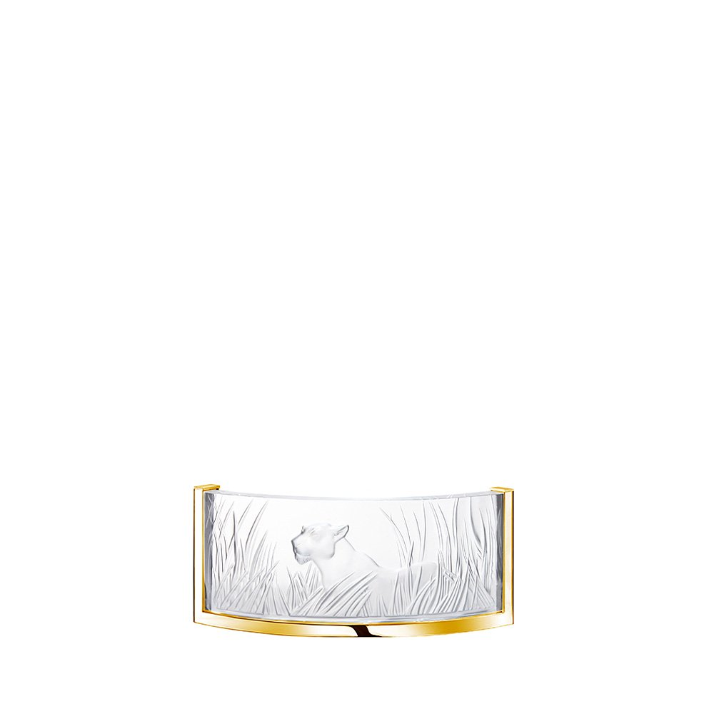 Kora Cristalight wall sconce | Clear crystal, gilded finish | Interior Design Lalique