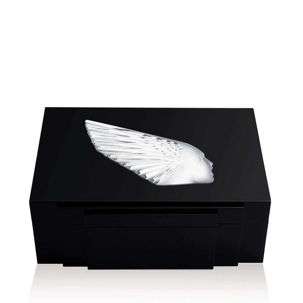 Victoire cigars box | Numbered edition, black lacquered with clear crystal, 100 cigars | Cigars box Lalique