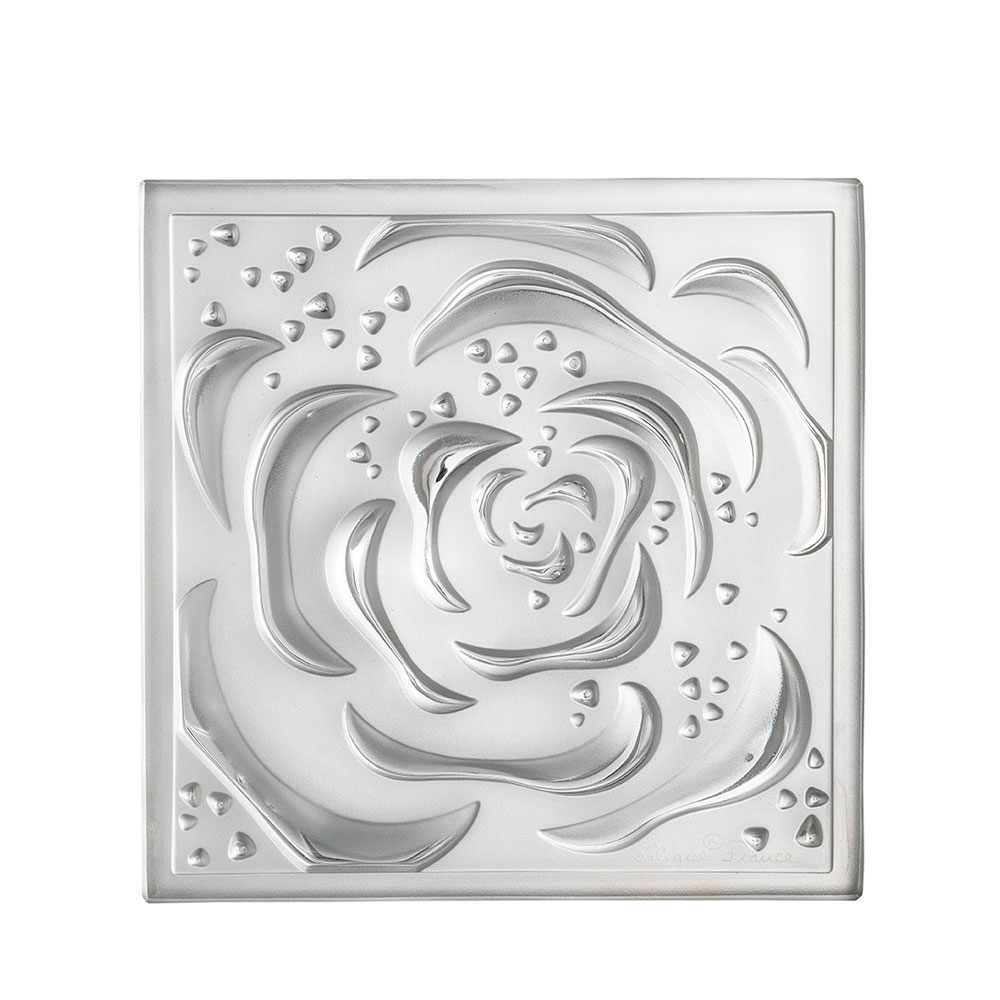 Roses decorative panel | Clear crystal, medium size | Interior Design Lalique