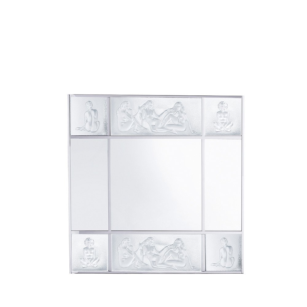 Les Causeuses mirror | Clear crystal, chrome finish, large size | Interior Design Lalique