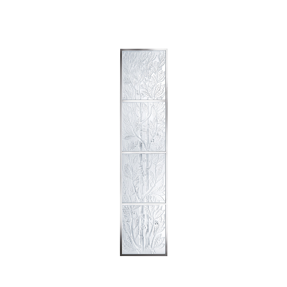 4 Lauriers decorative panels | Clear crystal, mirrored | Interior Design Lalique