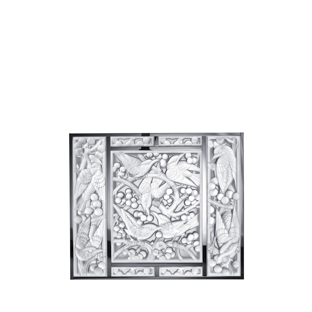 Merles et Raisins Head Down arrangement   Clear crystal, mirrored, chrome   Interior Design Lalique
