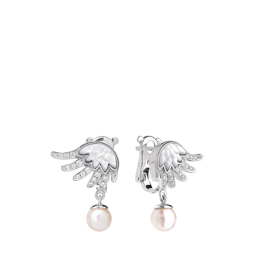 Vesta earrings, small | WHITE GOLD, CULTURED PEARLS, DIAMONDS, MOTHER-OF-PEARL | Fine jewellery Lalique