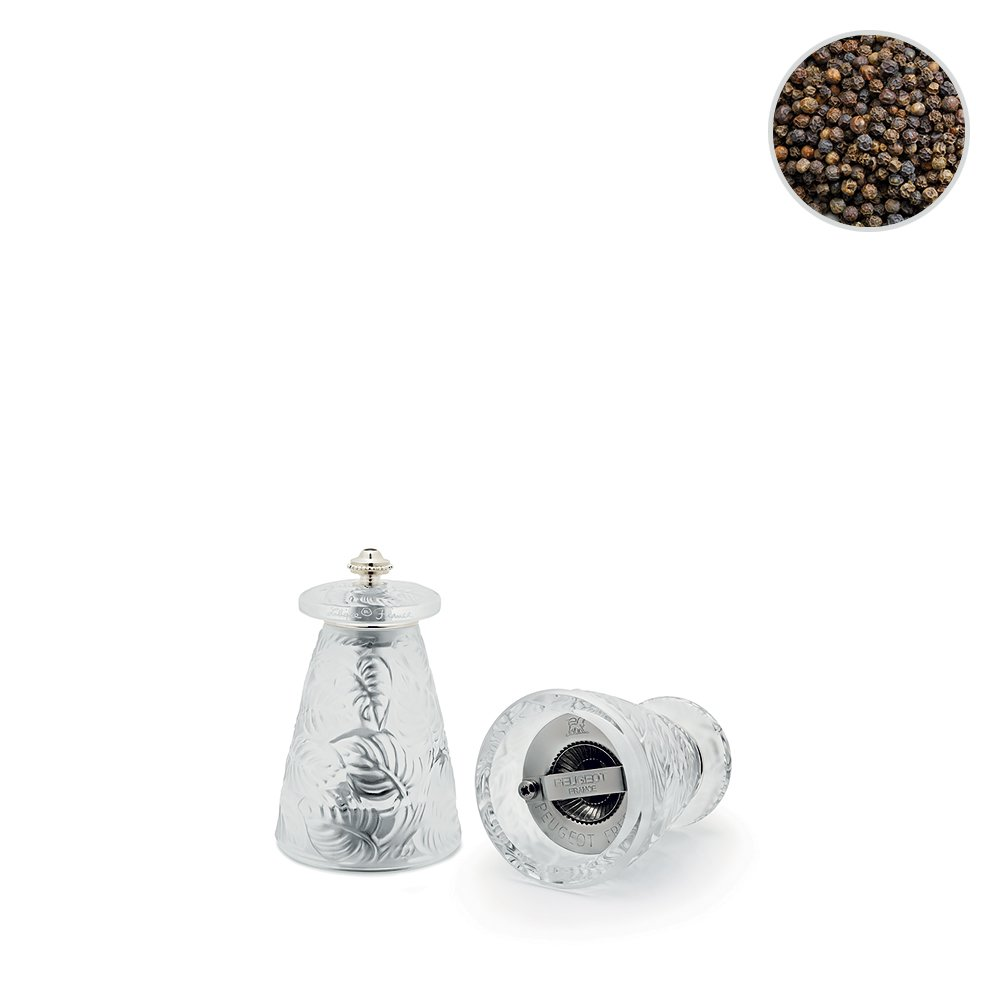 Feuilles pepper grinder   Clear crystal   Lalique and Peugeot
