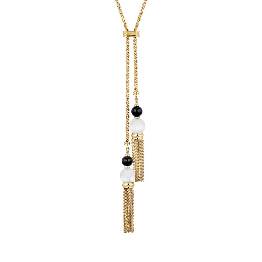 Vibrante necklace | Clear and black crystal, vermeil | Costume jewellery Lalique
