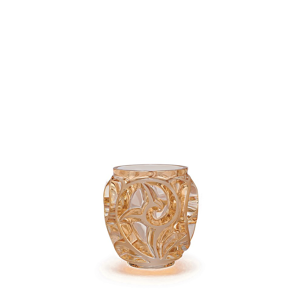 Tourbillons vase | Gold luster crystal satin-finished, small size | Vase Lalique