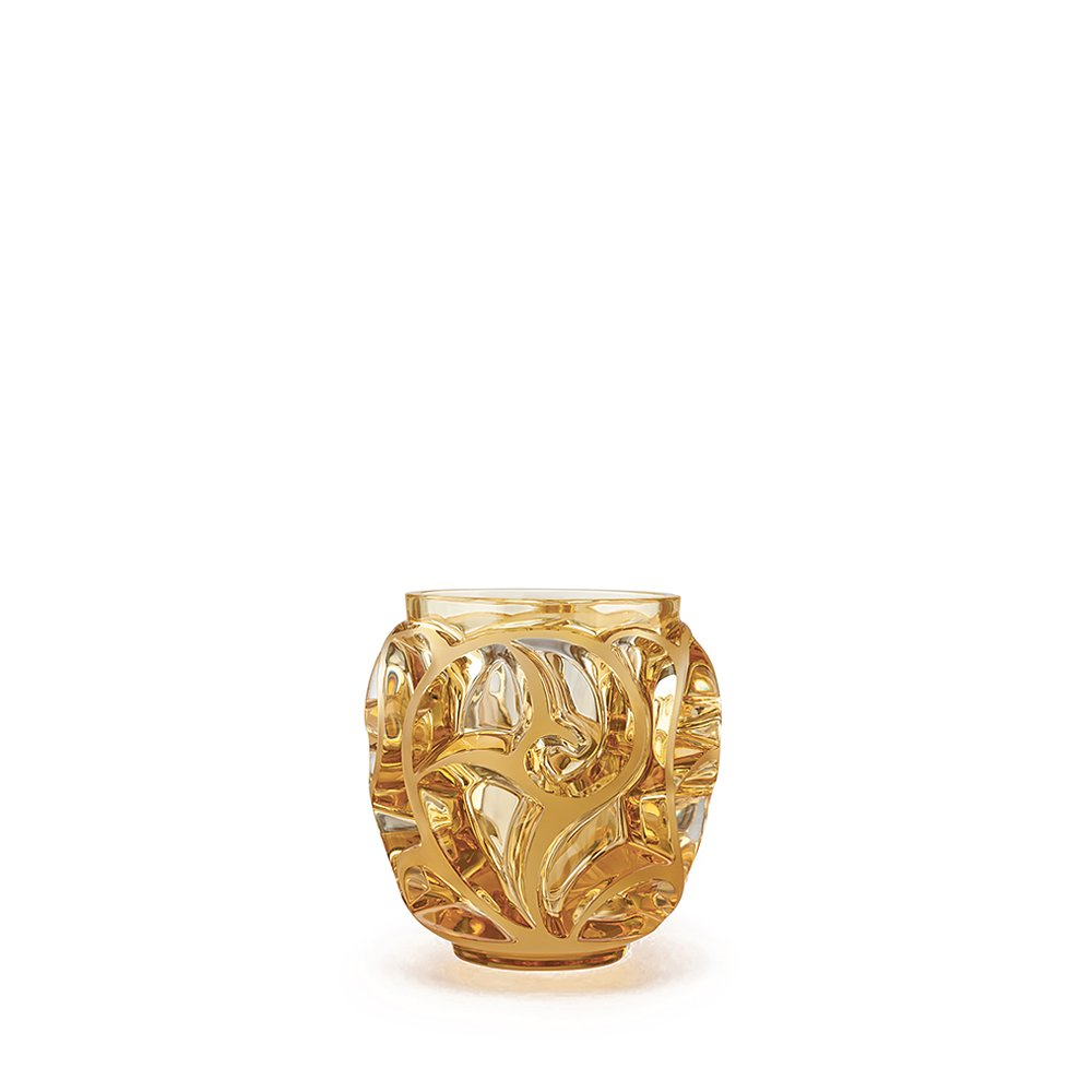 Tourbillons vase | Amber crystal, small size | Vase Lalique