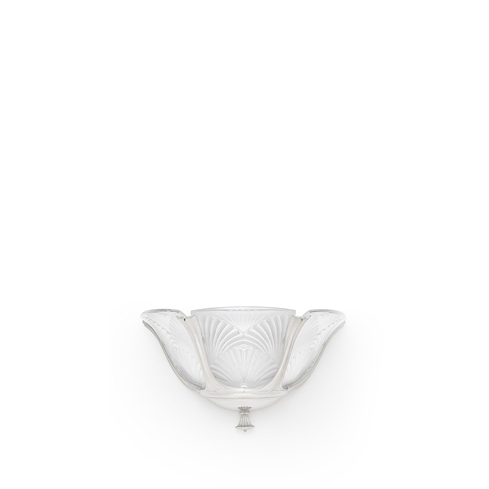 Ginkgo wall sconce | Clear crystal, shiny and brushed nickel finish, medium size | Lalique & Delisle