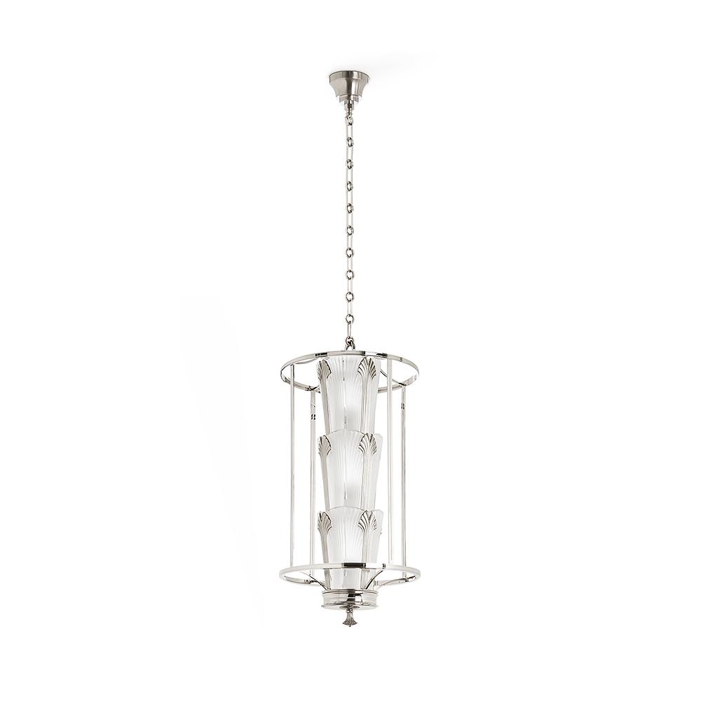 Ginkgo lantern | Clear crystal, shiny and brushed nickel finish | Lalique & Delisle