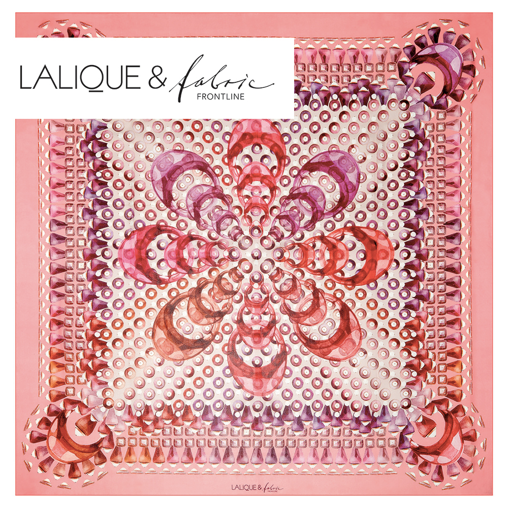 Gourmande scarf | Silk mousseline, 140x140 cm, pink color | Lalique