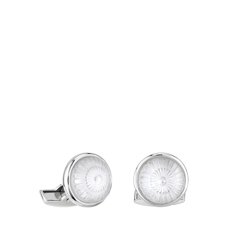 Toupie cufflinks | Clear crystal, palladium finishing | Costume jewellery Lalique