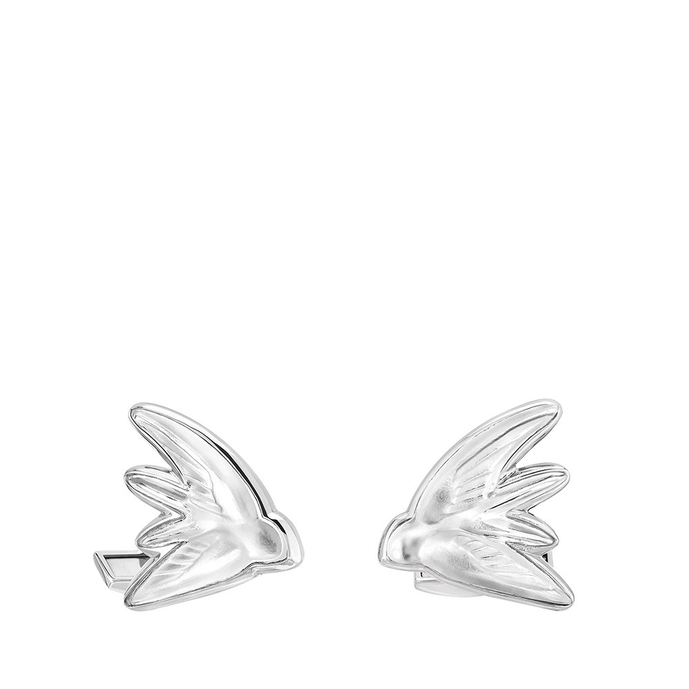 Hirondelle cufflinks | Clear crystal, palladium finishing | Costume jewellery Lalique