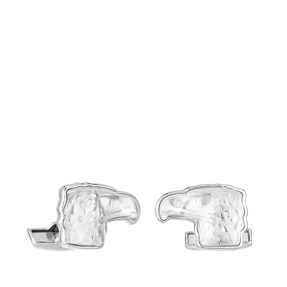 Eagle mascottes cufflinks | Clear crystal, palladium finishing | Costume jewellery Lalique