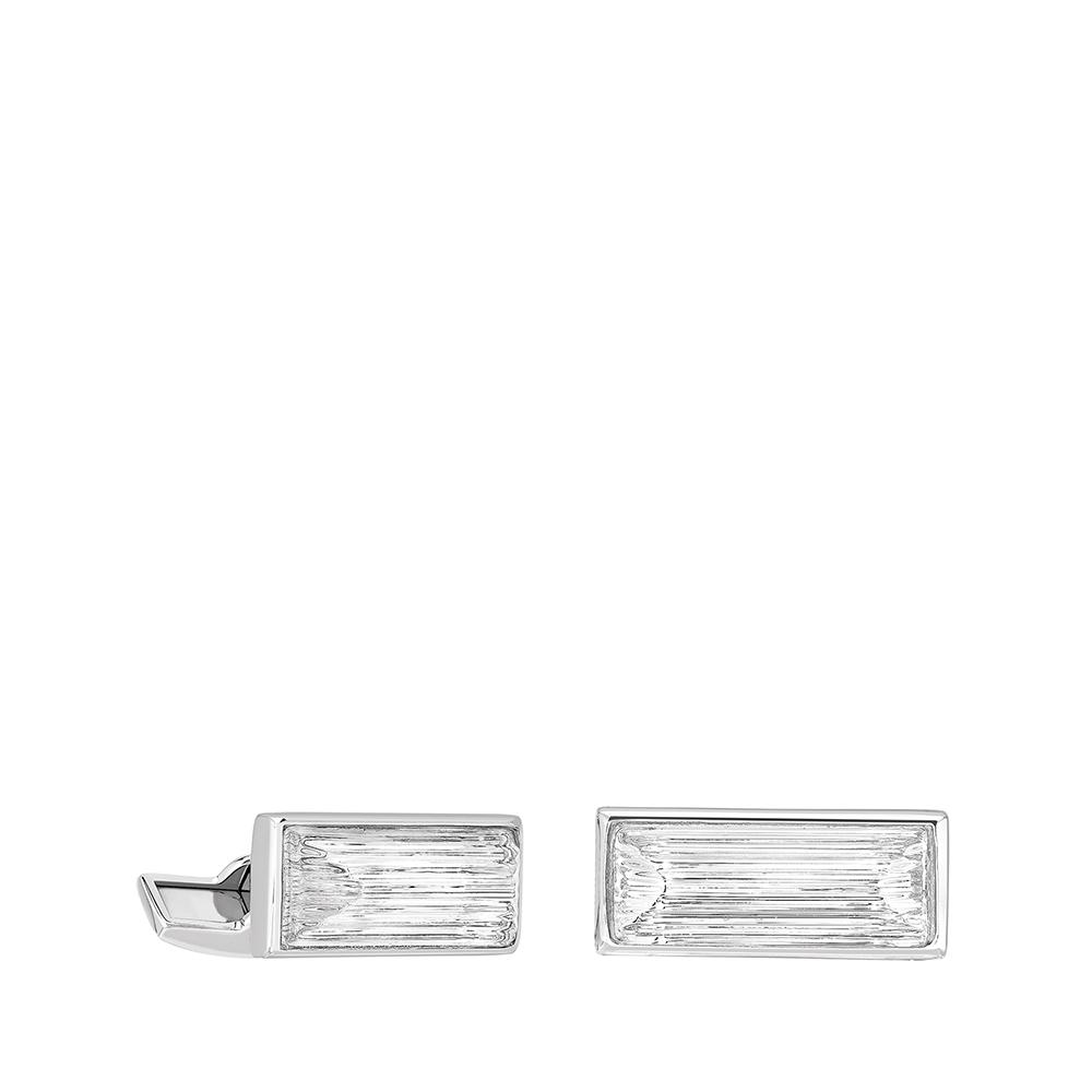 Rayonnante cufflinks   Clear crystal, palladium finishing   Costume jewellery Lalique