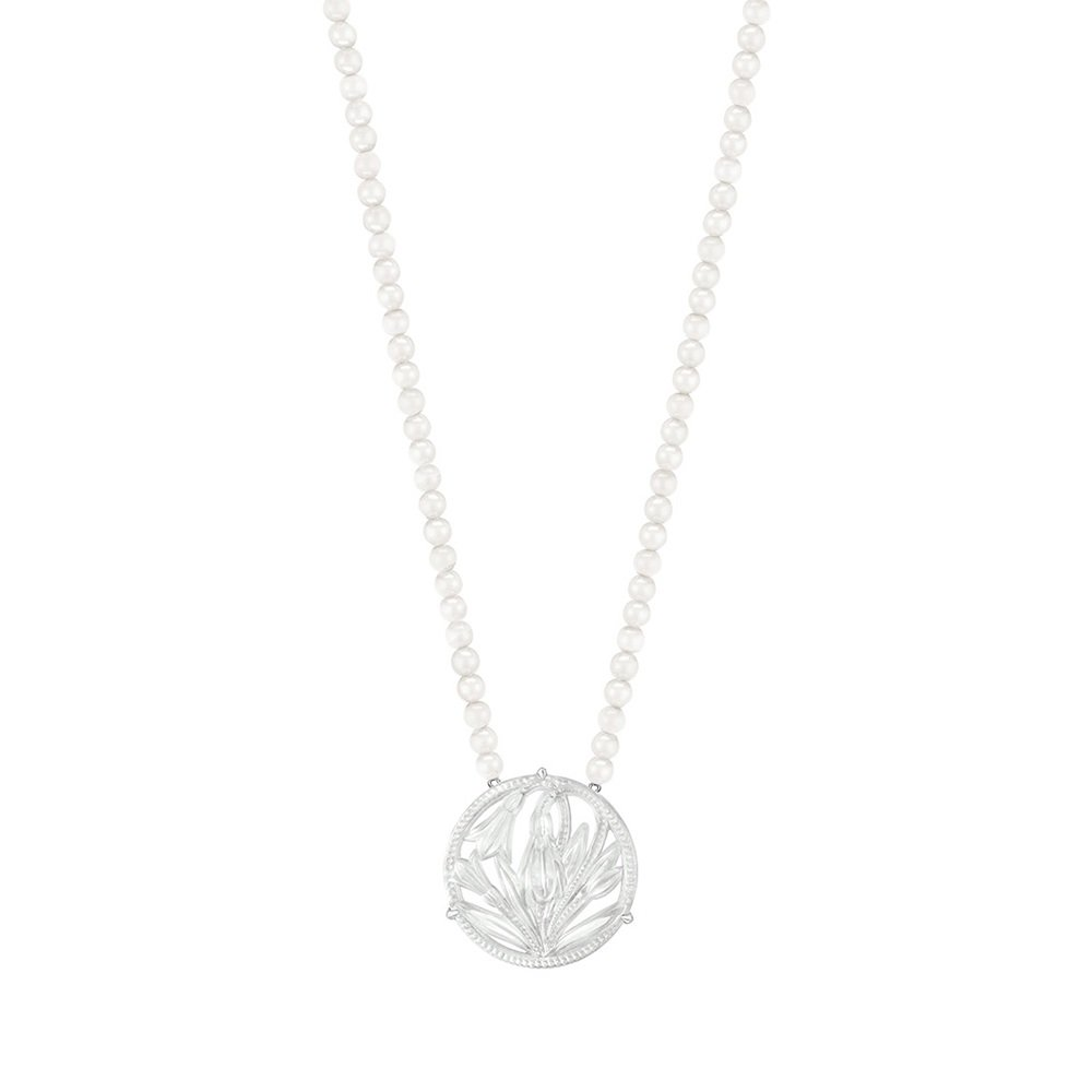 Fleur De Neige long necklace | Clear crystal and silver | Costume jewellery Lalique