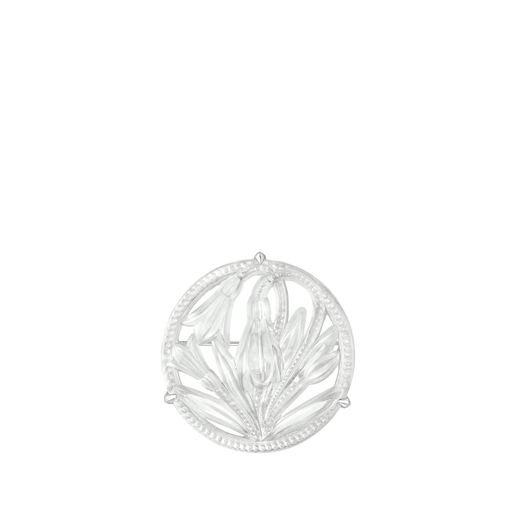 Fleur De Neige brooch | Clear crystal and silver | Costume jewellery Lalique