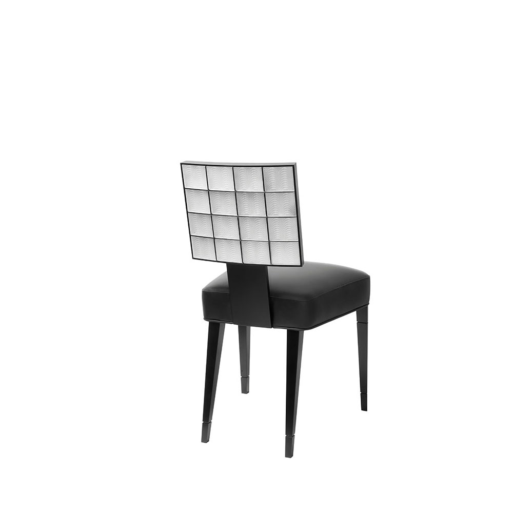 Coutard chair | Back of the chair adorned with crystal, leather, black lacquered wood | Pierre-Yves Rochon