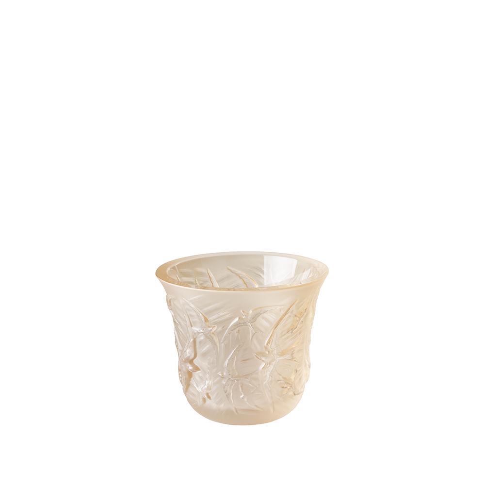 Hirondelles votive | Gold luster crystal | Lalique crystal votive